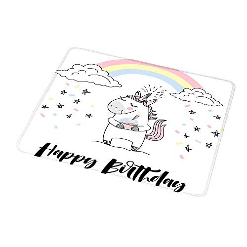 Gaming Mouse Pad Unicorn Party,Hand Lettering Cheerful Birthday Celebration with Sketch Stars and Confetti,Custom Non-Slip Mouse Mat 9.8