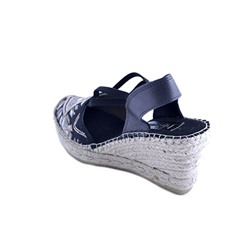 Rubber 7cm Sole with Design 36 Fabric Rafia Vidorreta Ethnic Black Wedge tip with Women's Size in Rhombus Sandals vzqwZ6p1