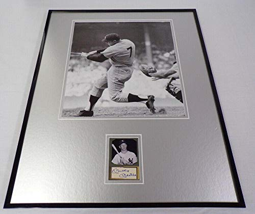 Mickey Mantle Autographed Photo - Facsimile Framed 16x20 At Bat Display - Autographed MLB Photos ()