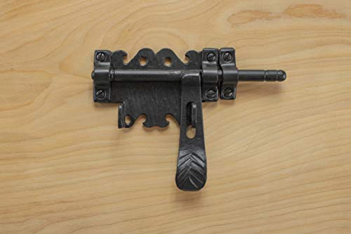 Decor Bolt Barrel - Barrel Bolt 6.25 For Doors or Gates Rustic Hammered Iron Black Finish Hand Crafted