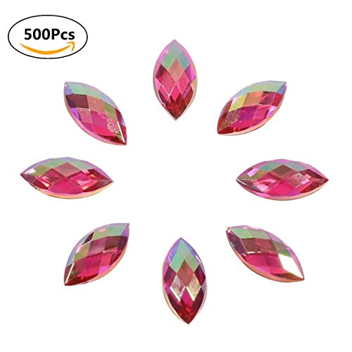 500Pcs Crystal Rhinestones,7mmx15mm Acrylic Stick On Flat Back Horse Eye Shape Decor For Clothes Phone (Red)