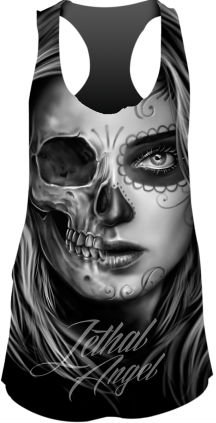 Lethal Threat Women's Shirt (Half D.O.D Skull Sublimation Tank Top)(Black/Gray, X-Large), 1 Pack