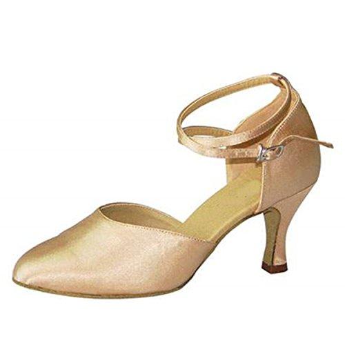 color Dance 7CM danse Cadeaux danse YFF Apricot latine 43 femmes Dance Tango chaussures wn6xPT
