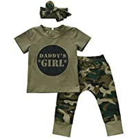 Urkuteba 2 Styles Baby Boy Girl Camouflage Short Sleeve T-Shirt Tops+Green Long Pants Outfit Casual Outfit