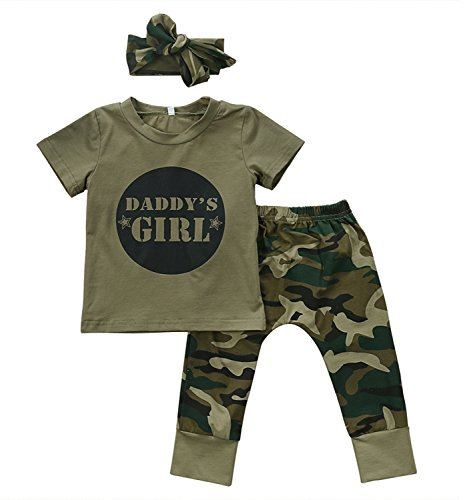 2 Styles Daddy's Baby Boy Girl Camouflage Short Sleeve T-shirt Tops+Green Long Pants Outfit Casual Outfit (0-6 Months, Baby Girl)