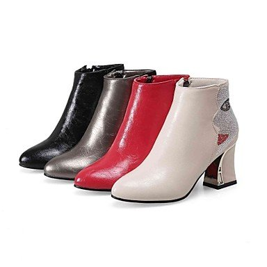 LFNLYX Mujer-Tacón Robusto-Botines / Puntiagudos-Botas-Oficina y Trabajo / Casual-PU-Negro / Rojo / Beige / Caqui Red