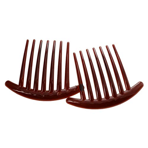 2pcs Hair Comb Pin Accessories Plastic Women Lady Fashion Brown ()