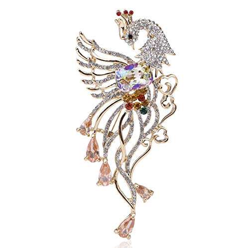 (Janefashions Phoenix Bird CZ Stone Austrian Rhinestone Crystal Brooch Pin Animals White Purple K532 (White))