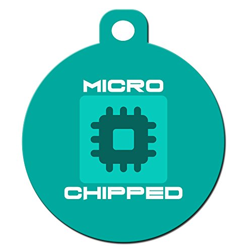 "Cute Dog Cat Pet ID Tag - ""Microchipped"" - Personalize Color"