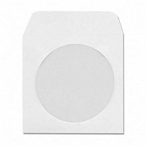 100 Pack White CD/DVD Paper Sleeves with Window and Flap ()