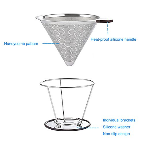Reusable Stainless Steel Coffee Filter – AINOK Stainless Steel Pour Over Coffee Dripper with Double Layered Filter,Reusable Coffee Filter with Removable Cup Stand,Brush and spoon. by AINOK (Image #1)