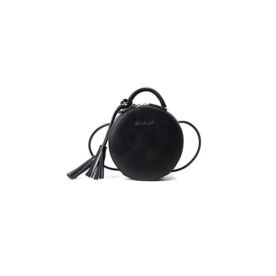 Vintage Round Shoulder Bag Pu Leather Cross Body Tote Handbags for Girls
