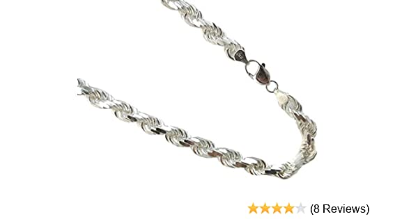 JOSCO Curb Link Necklace 8mm Italian Rhodium Plated Over Sterling Silver Chain 20,22,24,30