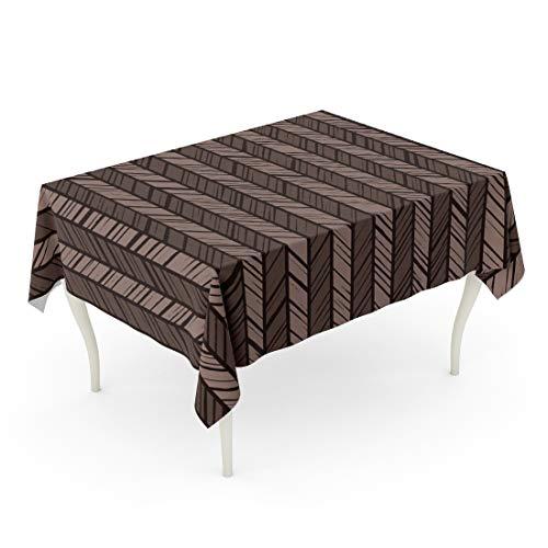 (Semtomn 60 x 102 Inch Decorative Rectangle Tablecloth Pattern Herringbone Dark Gray Stripes of Brown Diagonal Streaks Waterproof Oil-Proof Printed Table Cloth)