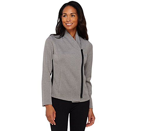 Lisa Rinna Collection Shawl Collar Zipfront Jacket Rib Panel Grey 1X New A273516