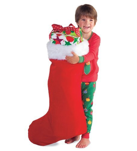 HearthSong® Super-Sized Red Velveteen Stocking with White Fur Cuff