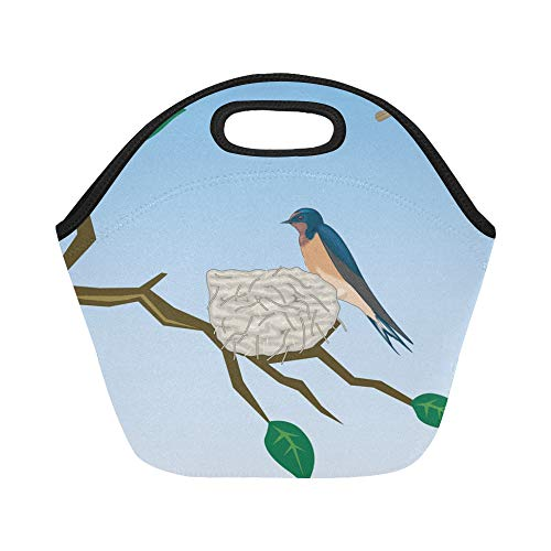 Insulated Neoprene Lunch Bag Barn Swallow Schwalbe Bird Birds Bird Flight Large Size Reusable Thermal Thick Lunch Tote Bags For Lunch Boxes For Outdoors,work, Office, School