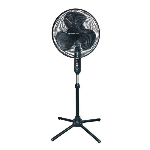 """Price comparison product image 16"""" Oscillating Pedestal House Fan by Comfort Zone. 3-speed Options,  90-Degree Oscillating Head,  Adjustable Height and Tilt. Powerful Air Flow (Black)"""