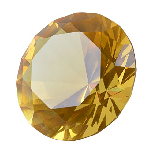 - LONGWIN 60mm Diameter Crystal Faceted Diamond Paperweight Wedding Favor Christmas Ornaments Home Decor (Yellow)
