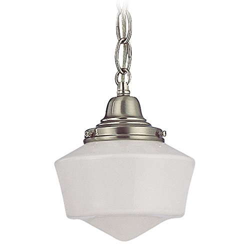 (6 Inch Vintage Schoolhouse Mini Pendant Light with Satin Nickel Finished Chain and Opal White Milk Glass Shade )