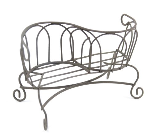 Touch of Nature Mini Iron Fairy Garden 2-Seat Bench, Rustic