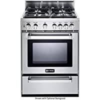 Verona VEFSGG244NSS 24 Freestanding Gas Range with 4 Sealed Burners 3.0 cu. ft. Capacity Broiler Pan Storage Drawer and Electronic Ignition in Stainless