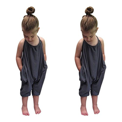 haoricu Girls Clothes, 2017 Summer Toddler Kids Baby Girls Straps Rompers Jumpsuits (2T, Gray) -