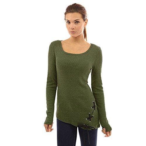 TJ Mall ベストセラーレディースソリッドストラップレースロングスリーブトップソリッドカラーシャツTシャツ