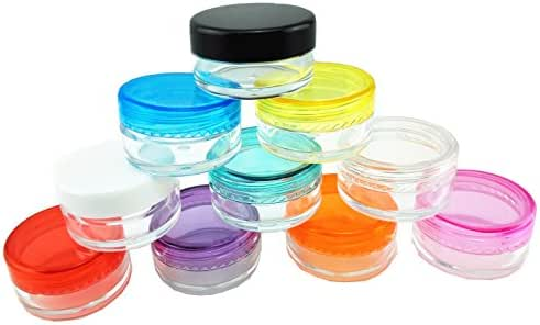yueton?10 Empty Clear Boday Multi Color Top Lid Plastic Sample Containers 5 Gram Size Cosmetic Containers Pot Jars Eyshadow Container Lot