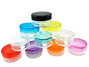 yueton 10 Empty Clear Boday Multi Color Top Lid Plastic Sample Containers 5 Gram Size Cosmetic Containers Pot Jars Eyshadow Container Lot