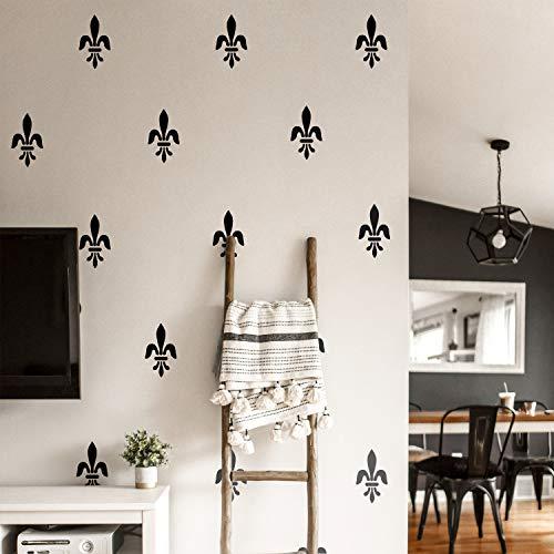 Set of 10 Vinyl Wall Art Decals - Fleur De Lis - 7