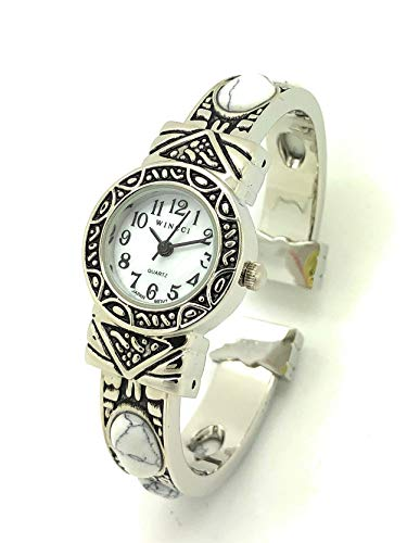 Ladies Silver Metal Bangle Cuff Fashion Watch with Stones Pearl Dial Wincci (White)