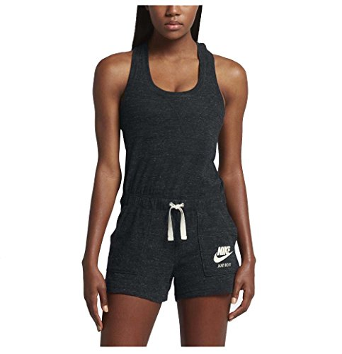 (Nike Women's Vintage Gym Sport Casual Romper-Black/Sail-XL)