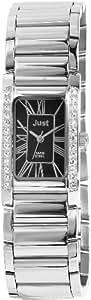 Just 48-S6403A-BK - Reloj de mujer de cuarzo, correa de acero inoxidable color plata