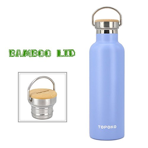 TOPOKO 25 oz Stainless Steel Vacuum Insulated Water Bottle, Keeps Drink Cold up to 24 Hours & Hot up to 12 Hours, Leak Proof and Sweat Proof (SkyBlue)