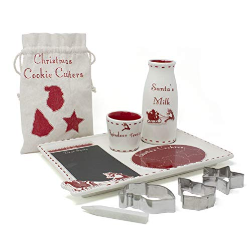 Child to Cherish Santa's Message Christmas Plate Set with Cookie Cutters | Cookies for Santa plate, Santa milk jar, Reindeer Treat Bowl and Cookie Cutters