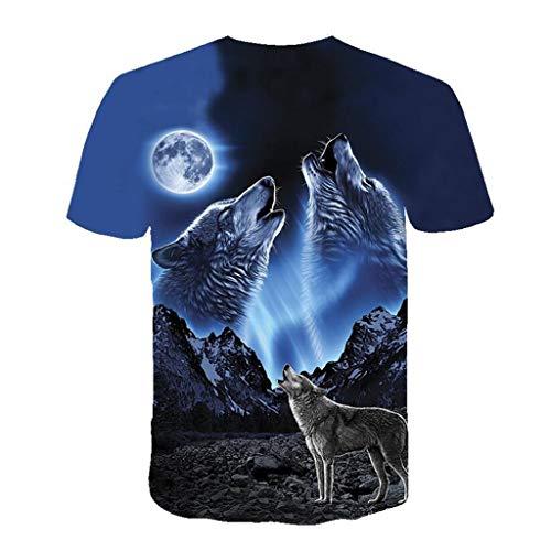 Noir shirts wolf 2019 Pattern la Manches À Hommes M Mounter Taille Lune T Chemise 3xl Courtes 3d Noir Imprimé HxqBZgwF6