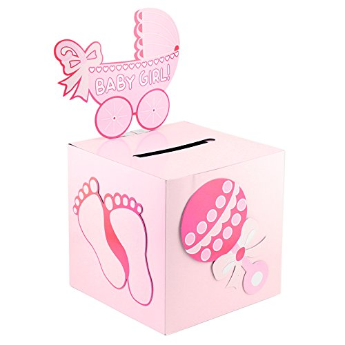 Deco4Fun Pink Girl Baby Shower Card Box Money Gift Favor Idea Keepsake Gender Reveal Party Baby Sprinkle Mommy Party Decoration