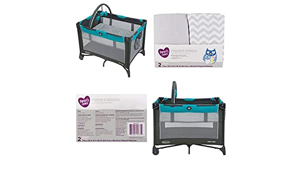 Amazon.com : Graco Pack n Play On The Go Playard with Bassinet, Finch, Bundle with Playard Sheets, Neutral, 2 Pack : Baby