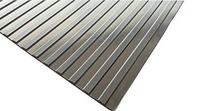"Wide Rib Rubber Corrugated Non-Slip Mat - 1/8"" x 3' x 10' Black Utility Runner Mats"