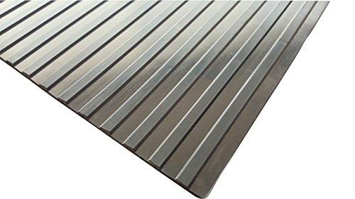 Wide Rib Rubber Corrugated Non-Slip Mat - 1/8 x 3' x 10' Black Utility Runner Mats