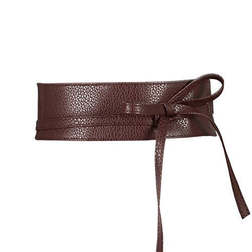 Women's Soft Faux Leather Wrap around Obi Style Bow Tie Waist Band Belt for Dress Skirts (Coffee, 2.5m X 6.7cm (L X (Brown Leather Bow)