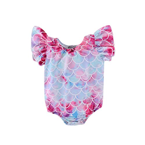 SAYOO Baby Girls Colorful Fish Scale Sleeve Swimwear Mermaid Ruffles One-Piece Swimsuit Special Bling Bling Bathing Suit