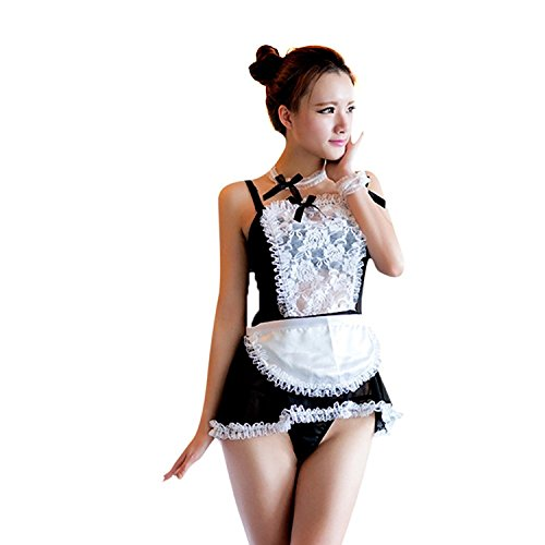 Women Sexy Erotic Maid Lingerie Lace Cosplay Costumes Outfit Babydoll Sleepwear Dress (Black)