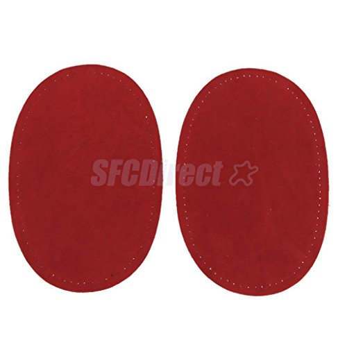 Pair Sew-On Fabric Oval Elbow Knee Patches Sweater Trousers Repair Craft Supply Red by sfcdirect