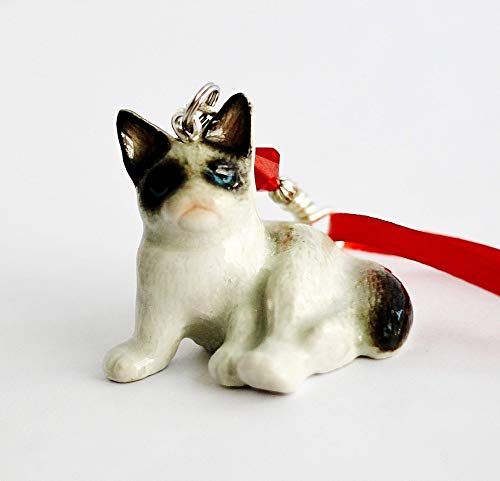 (Fat Cat Christmas Ornament Small Porcelain Ragdoll Kitten Animal Figurine Charm)