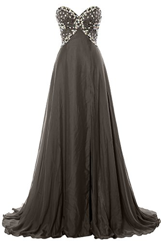 MACloth Women Strapless Prom Dress Crystals Chiffon Long Formal Evening Gown Gris