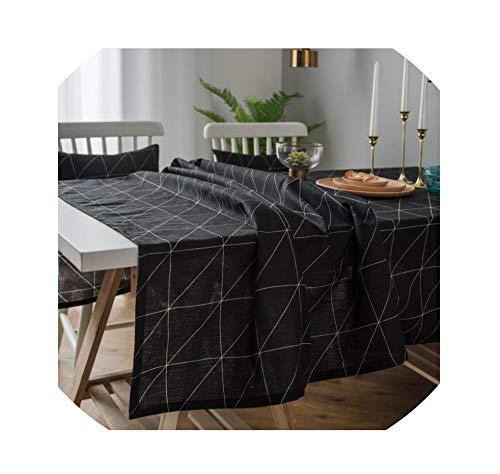 LIUUUU Fashion Geometric Pattern Table Cloth Black White Plaid Tablecloth Home Kitchen Dining Table Cover 2019 ZC035,Black,9090cm