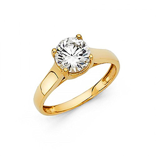 American Set Co. 14k Yellow Gold CZ Trellis Solitaire Engagement Ring ()