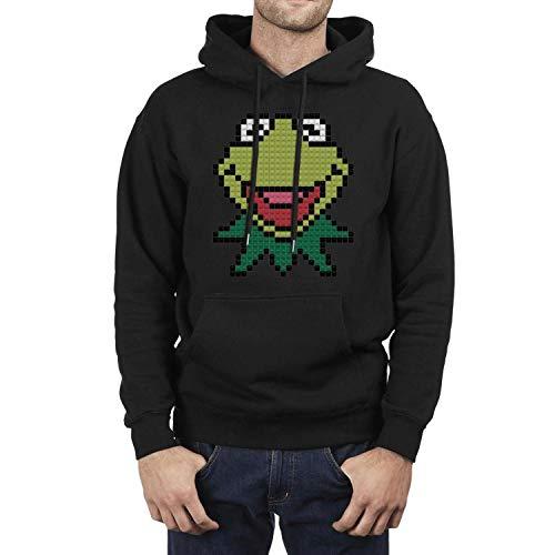 Hoodie Long Sleeve Mens Kermit-The-Frog-Building-Block-Pixel- Pullover Hoodie